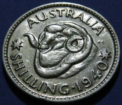 1940 AUSTRALIA Silver Shilling Coin XF Cond. KEY Date & Tough To Find This Nice.