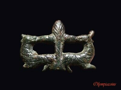 ** AMAZING ** Ancient Roman Silvered Bronze  Zoomorphic Fibula ** DOG & DEER **