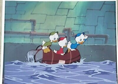 Disney Studios Ducktales 3 Image Animation Production Cel &Drawing W/ Background