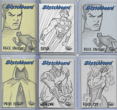 6 1998 Marvel Sketchboard Cards White & Yellow