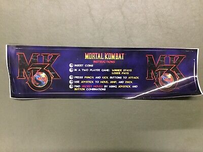 Midway Mortal Kombat 3 video arcade game monitor bezel decal NOS
