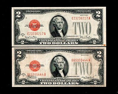 1928C 1928G  $2 Red Seal United States Notes