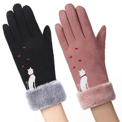 Heart Windproof Plus Velvet Touch Screen Mittens Thicken Warm Faux Suede Gloves