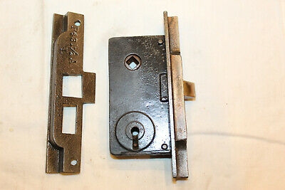 One Antique Barrows Mortise Lock with Matching Heavy duty Steel Strikeplate