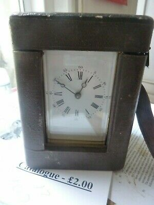 Antique Carriage Clock in Leather Case working with key