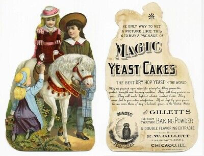 Larger MAGIC YEAST CAKES Die Cut VICTORIAN Trade Card 1880's CHILDREN and Horse