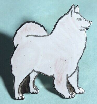 Samoyed Enameled Brooch,Collectible Dog Pin