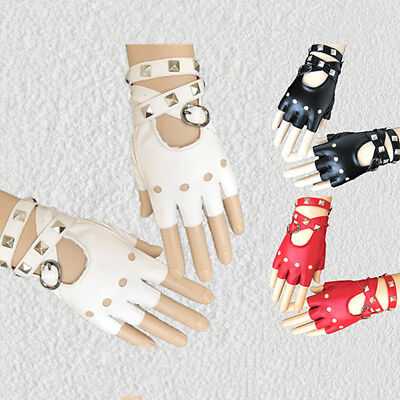 Womens Leather Half Finger Gloves Punk Rivets Belt Gloves Halloween Party PODUS