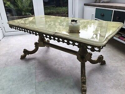 Vintage Onyx Marble & Gold Brass Coffee Table