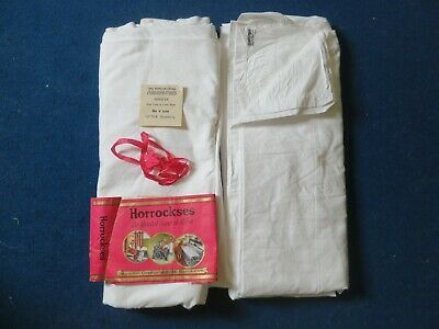 Vintage PAIR of UNUSED SHEETS 100% Pure Cotton 80in by 100in - Hard Wearing