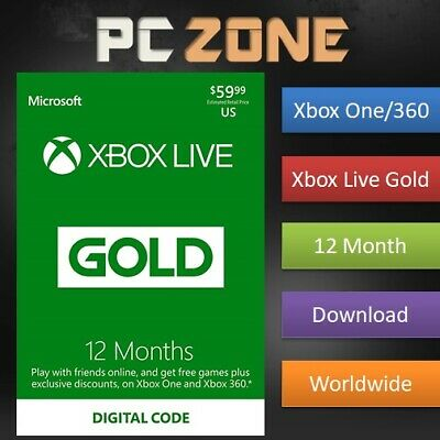 12 Month Xbox Live Gold Membership For Microsoft Xbox 360 / Xbox One Instant