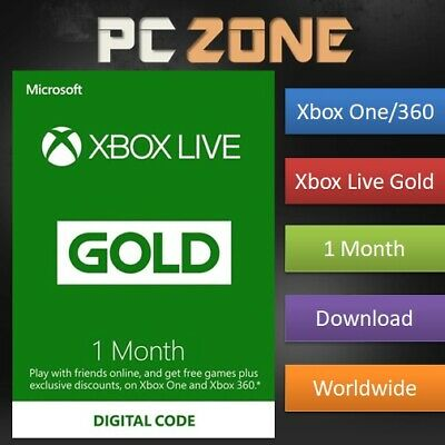 1 Month Xbox Live Gold Membership For Microsoft Xbox One / Xbox 360 Instant