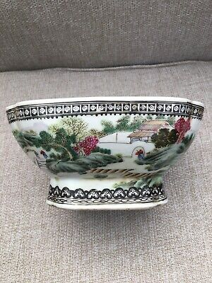 Chinese Famille Verte Porcelain Footed Bowl Painted Landscape With Qianlong Seal