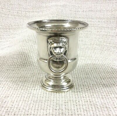 Vintage Silver Plated Toothpick Holder Lion Mask Handles VINERS Classical Urn