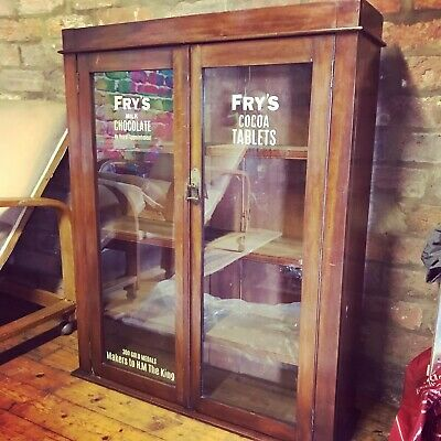 Vintage Antique Frys Chocolate Display Cabinet Glass Kitchen Coffee Shop