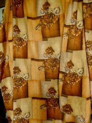 """Retro True Vintage 1950's Linen Fully Lined Curtains 5' 2"""" long by 5' 9"""" wide"""
