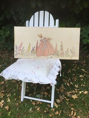 Vintage Embroidery Crinoline Lady English Garden Hand Embroidered Linen
