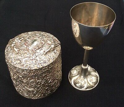 Top Quality Antique Circular Biscuit Box and Antique Chalice or Goblet