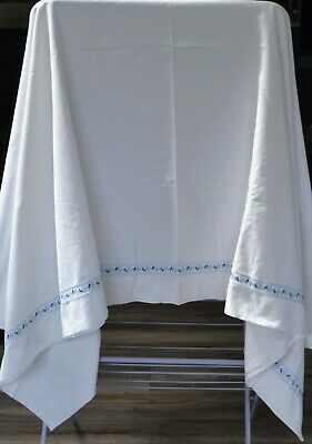 fab vintage large white cotton sheet. lovely embroidered braid detail  exc cond