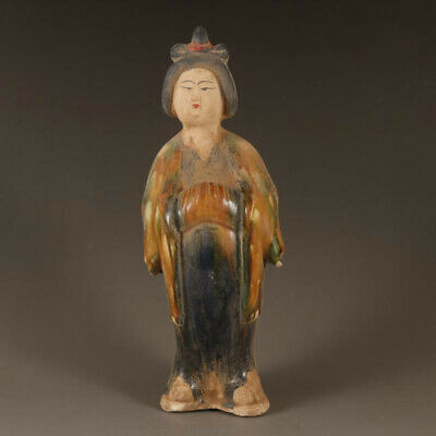 """10.2""""China Tang Dynasty Tri-coloured Glazed Pottery Fat Tomb Figure Woman Statue"""