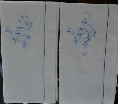 lovely pair of vintage white cotton & embroidered pillowcases.exc vintage cond