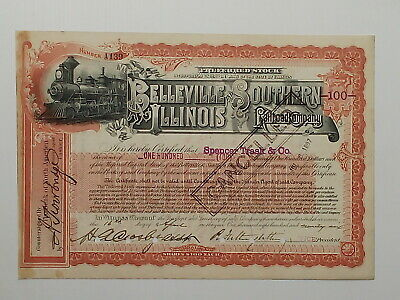 USA stock certificate 1896 Belleville & Southern Illinois Railroad  #A139