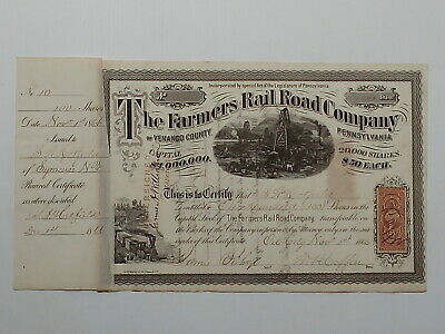 USA stock certificate 1866 Farmers Rail Road Company  #10