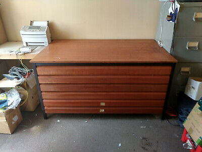 used wood engineers/architect drawing plan chest cabinet