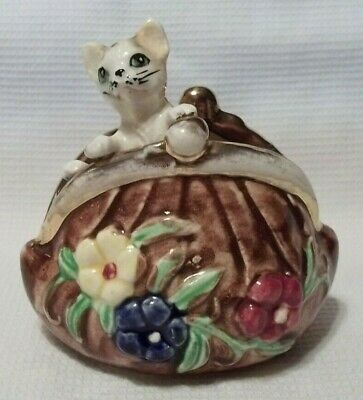Vintage Hand Painted Ceramic Figurine Tabby Cat Kitten Coin Purse Green Eyes