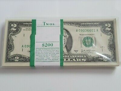 100 x $2 BUNDLE UNCIRCULATED US DOLLAR SERIES 2003 A BILL UNC BANKNOTES