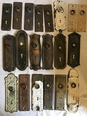 Lot #404 Brass Steel And Bronze Stamped Backplates Vintage Hardware
