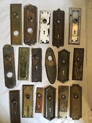 Lot #405 Brass Steel And Bronze Stamped Backplates Vintage Hardware