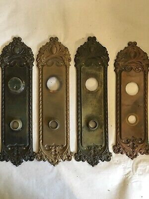 Lot #406 Large Cast Bronze Door Plates Matching Backplates Vintage Hardware
