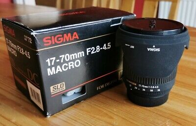Sigma 17-70mm F2.8-4.5 DC Macro Lens Nikon fit with F/R caps and Hood