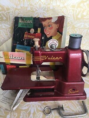 Vintage Childs sewing machine Vulcan Senior  original box Not Tested All Intact
