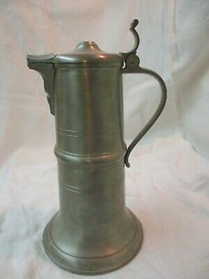 Vintage Germany BMF Rein Zinn Pewter tall Pitcher with Lid 10 3/4""