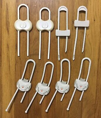 8 (eight) Baby Proofing White Sliding CABINET LOCKS