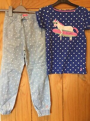 Joules 2pc Outfit 7-8 Y Polkadot Spot Sea Horse Top T-shirt & Chambray Trousers
