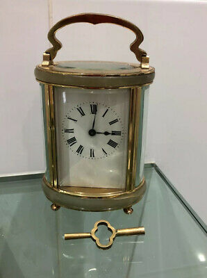 VINTAGE FRENCH BRASS & ONYX CARRIAGE CLOCK BY Duverdry & Bloquel