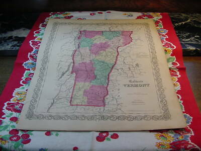 State of Vermont Map 1860 Colton's General Atlas Color Steel Engraving C16