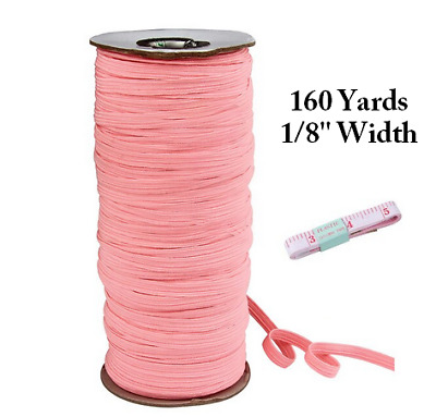 3mm (1/8 inch) Braided Elastic - Pink - SHIPS FROM LONDON, ON, CANADA