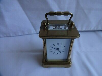 ANTIQUE FRENCH MINIATURE CARRIAGE CLOCK POSSIBLY BY MARGAINE HEIGHT 8 cm x 6 cm