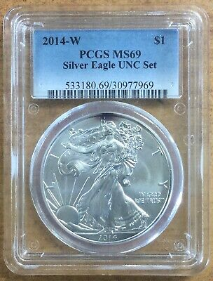 2014-W American Eagle One Dollar Pcgs Ms69 Silver Certified Coin!