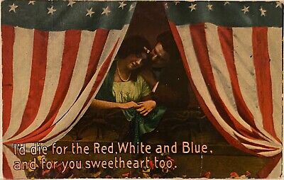 Patriotic Postcard ~ Young Sweethearts Behind American Flag Curtain