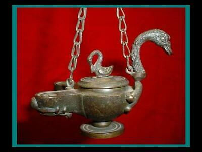 ANTIQUE ROMAN POMPEII Greek BRONZE Hanging OIL LAMP with SWAN HANDLE and FINIAL