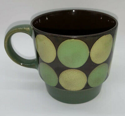 PIER ONE Imports Stoneware Coffee Mug Tea RETRO Look Circles Green Brown Yellow