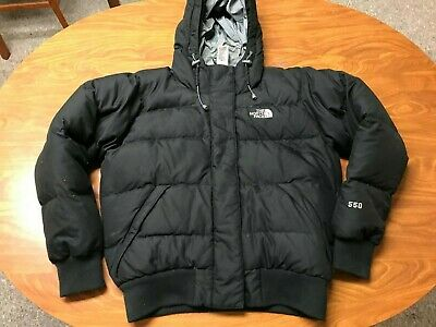 Womens Used The North Face Black 550 Down Full Zip Hooded Coat Jacket Size Small