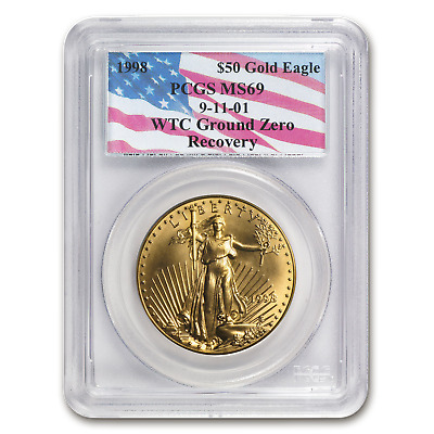 1998 1 oz Gold American Eagle MS-69 PCGS (World Trade Center) - SKU #60400