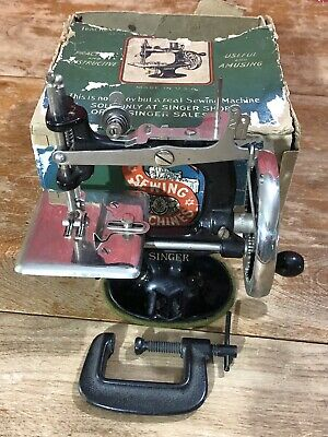 Antique Child's Singer Sewing Machine Cast Iron With Clamp Working Toy