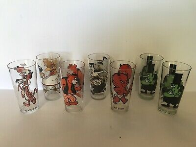 Vintage Pepsi Collector Series Drinking Glass  1970's Lot Of 7 Boris Hot Stuff